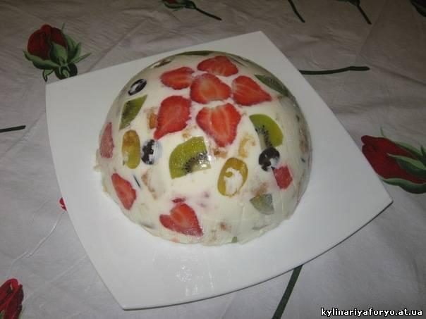 Десерт из сметаны и желатина с фруктами пошаговый рецепт